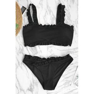 Cupshe | Black Ruffled 2 Piece Bikini Set NWT